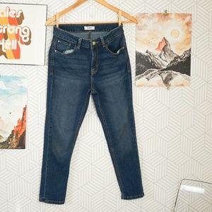 Kensie medium wash high rise ankle skinny jean